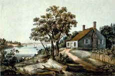Engraving of George Washington's Birthplace, published by Currier and Ives