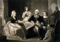 Portrait of George Washington, Martha Washington, Eleanor Parke Custis, George Washington Parke Custis, and William 'Billy' Lee by William Sartain, 1864