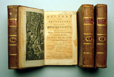 Collection of books owned by Washington, including 'The History and Adventures of the Renowned Don Quixote'